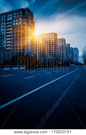 Traffic road in downtown of Shenzhen,blue tone,China.
