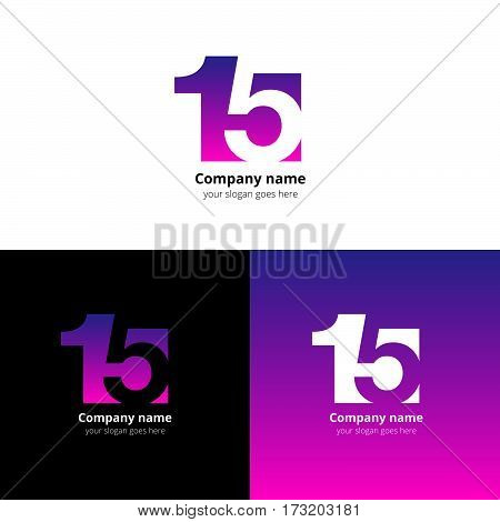 15 logo icon flat and vector design template. Monogram numbers one and five. Logotype fifteen with violet gradient color. Creative vision concept logo, elements, sign, symbol for card, brand, banners.