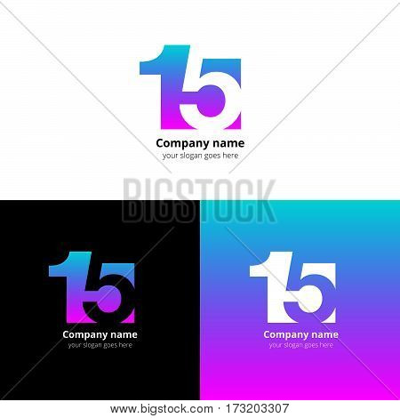 15 logo icon flat and vector design template. Monogram numbers one and five. Logotype fifteen with gradient color. Creative vision concept logo, elements, sign, symbol for card, brand, banners.
