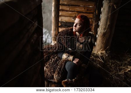 Portrait Of Red-haired Girl Viking
