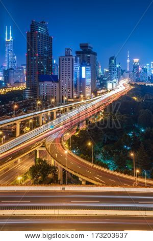 urban traffic with cityscape in Shenzhen,China .