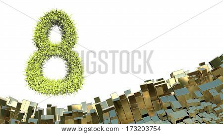 8 March word made of green city blocks flying in the space over abstract  landscape background of metal boxes. Decorative greeting postcard for international Woman's Day. 3d illustration.