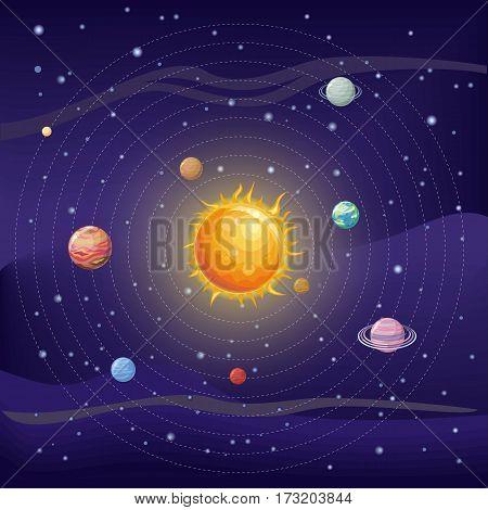 Solar system with stars, Sun, Pluto, Neptune, Uranus, Venus, Mercury, Saturn, Jupiter, Mars, Earth and Moon on orbit. Planets in orbit around the sun. Set of planets Solar system background