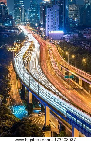 traffic light trails at Night in Shenzhen China.