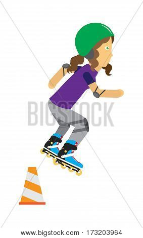 Girl on roller skates in protective equipment and green helmet jumping over orange traffic cone. Girl wearing protective gear. Summer vacation, healthy lifestyle, leisure activities illustration