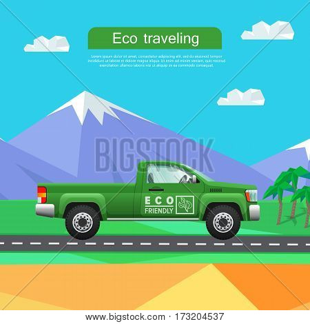 Transport. Picture of isolated green classical pickup near mountains. Ecologically clean car driving down road. Cheap mean of transportation. Four-wheeled automobile in cartoon style. Vector