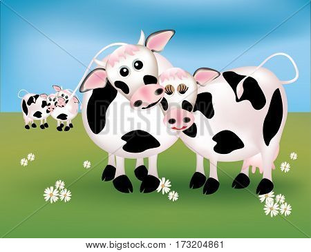 Cows lover in love the green field