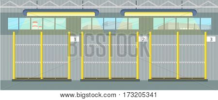 Empty pallet in warehouse interior. Shelves for goods with personal numbers. Logistic and factory. Business delivery. Waiting for the cargo delivering into the storage. Vector illustration