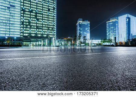 urban street view with cityscape in background.