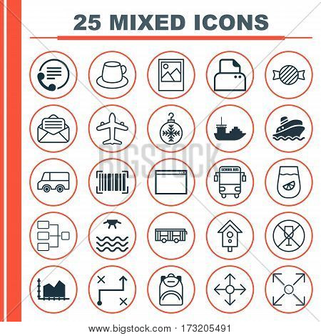 Set Of 25 Universal Editable Icons. Can Be Used For Web, Mobile And App Design. Includes Elements Such As Toffee Candy, Birdhouse , File Scanner.