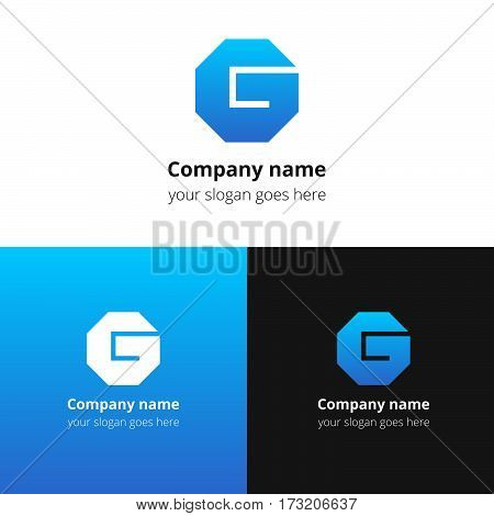 Letter G logo. Alphabet logotype vector design. Blue gradient concept G hexagon infinity loop shape. Creative vision concept logo or icon template for company, web site, banners, cards, covers, poster