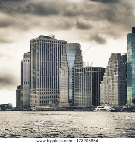 HDR view of buildings of Lower Manhattan from East River.