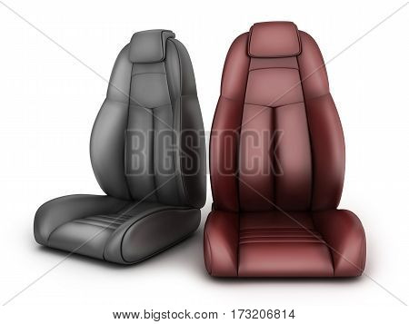 Two drivers seats on white background. 3d illustration