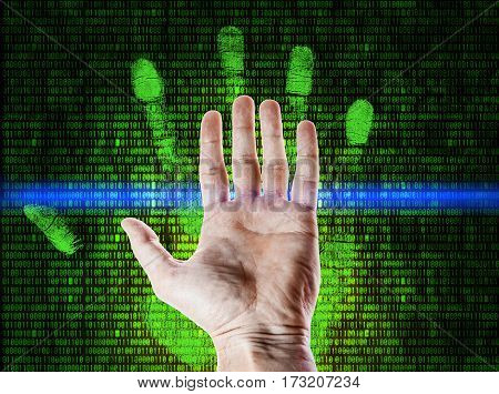 Palm fingerprint is scanned against running numbers matrix