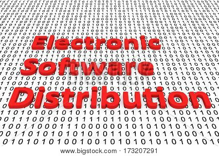 electronic software distribution in the form of binary code, 3D illustration