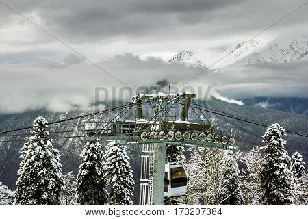 Sochi.Russia.Jan 6 2011.ski lift in Sochi Krasnaya Polyana on the background of beautiful mountain scenery