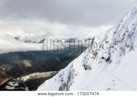 view from the mountains in Krasnaya Polyana in Sochi Russia.