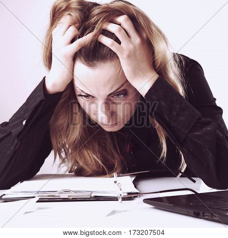 I hate my office work. Office hell. Woman going crazy with work with documents. Low wages overtime working hours lack of career prospects unfreedom concept. (Body language gestures psychology)