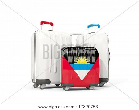 Luggage With Flag Of Antigua And Barbuda. Three Bags Isolated On White