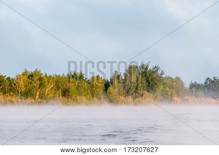 Sunny sunrise on the lake. fog spreads over the water surface.
