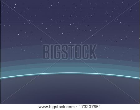Horizontal poster of Earth view from space. Aurora glowing on horizon and atmosphere circles.