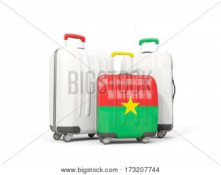 Luggage With Flag Of Burkina Faso. Three Bags Isolated On White