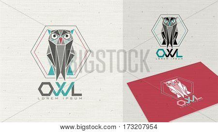 Owl logo education polygon illustration. Forest owl for Your company sign or label. Flat style animal template. Farm House concept.