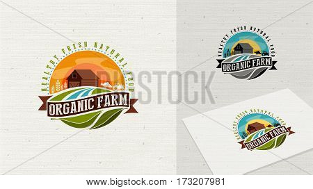 Organic Farm logo and web Icon.  Eco Logo Organic Food Label and Element easy editable for Your design.