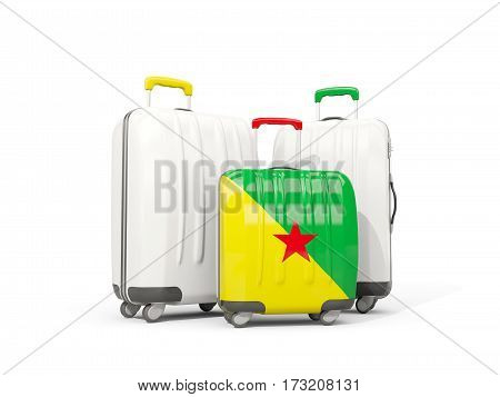 Luggage With Flag Of French Guiana. Three Bags Isolated On White