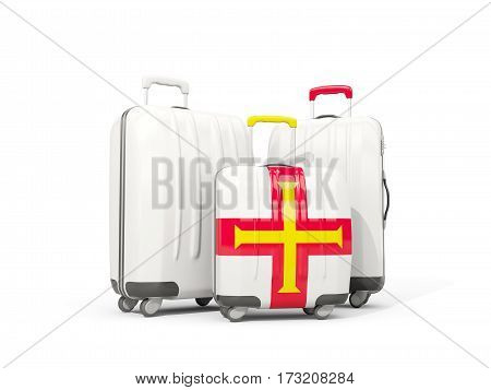 Luggage With Flag Of Guernsey. Three Bags Isolated On White