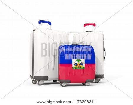 Luggage With Flag Of Haiti. Three Bags Isolated On White