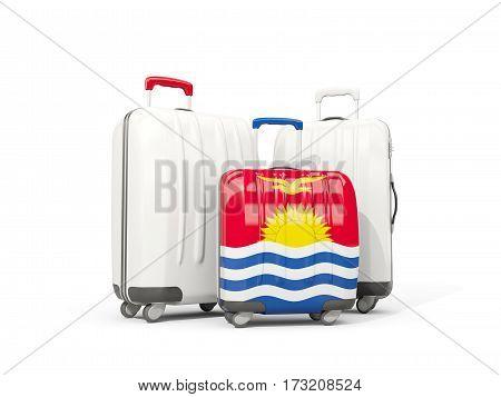 Luggage With Flag Of Kiribati. Three Bags Isolated On White