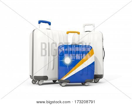 Luggage With Flag Of Marshall Islands. Three Bags Isolated On White