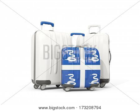 Luggage With Flag Of Martinique. Three Bags Isolated On White