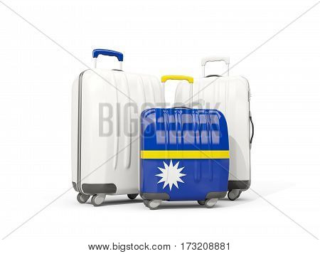 Luggage With Flag Of Nauru. Three Bags Isolated On White