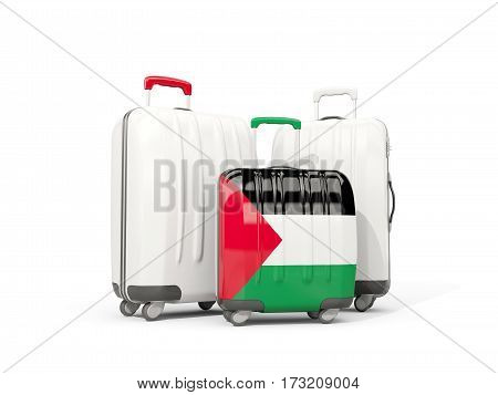 Luggage With Flag Of Palestinian Territory. Three Bags Isolated On White
