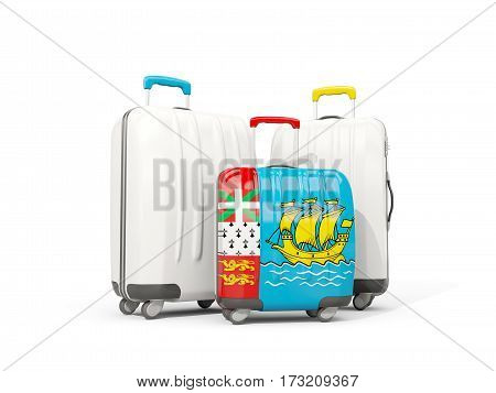 Luggage With Flag Of Saint Pierre And Miquelon. Three Bags Isolated On White
