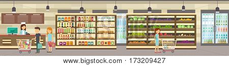 Supermarket store with goods. Big shopping center. Interior store inside. People in line at cash desk. Scene inside shopping mall.