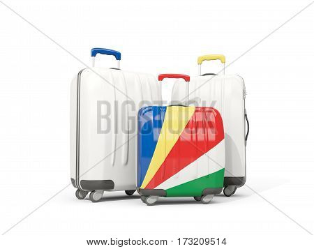 Luggage With Flag Of Seychelles. Three Bags Isolated On White