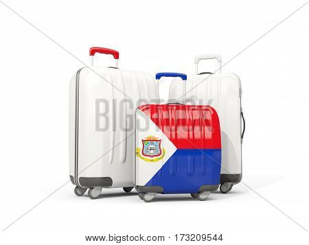 Luggage With Flag Of Sint Maarten. Three Bags Isolated On White
