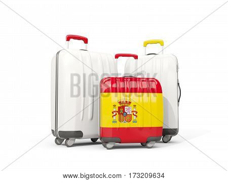Luggage With Flag Of Spain. Three Bags Isolated On White