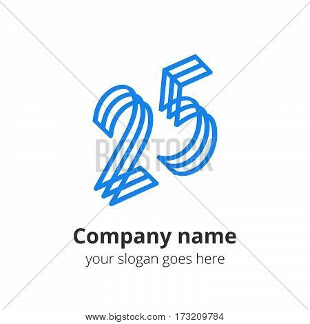25 logo concept. Number twenty five, 2 and 5 blue logo icon.