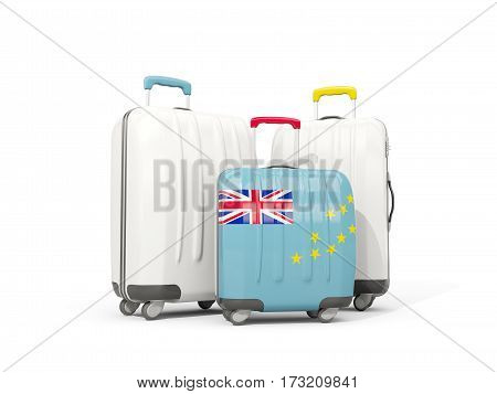 Luggage With Flag Of Tuvalu. Three Bags Isolated On White