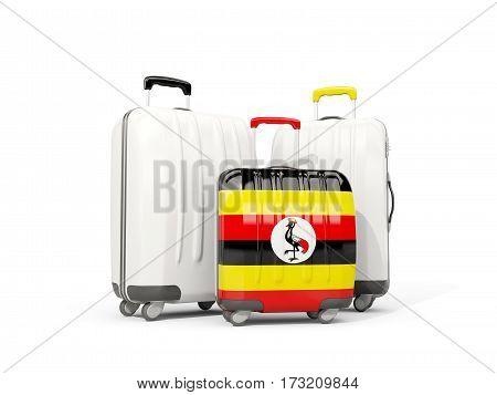 Luggage With Flag Of Uganda. Three Bags Isolated On White