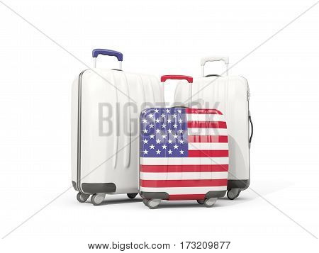 Luggage With Flag Of United States Of America. Three Bags Isolated On White