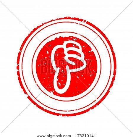 Scratched round red stamp with thumb down - vector