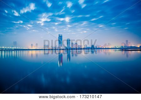 front view of urban skyline with cityscape in Nanchang,China.