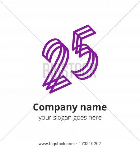 25 logo concept. Number twenty five, 2 and 5 violet logo icon.