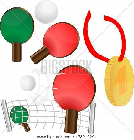 table tennis. ping pong. Gold medal for first place, vector illustration eps10 graphic