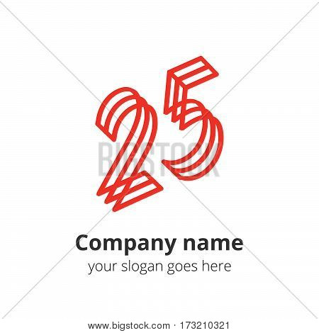 25 logo concept. Number twenty five, 2 and 5 red logo icon.